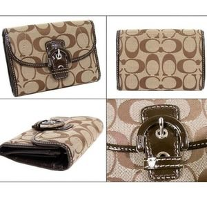 Coach Soho Signature Compact Wallet Khaki Mahogany